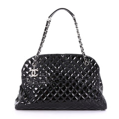 Chanel Just Mademoiselle Handbag Quilted Patent Maxi Black 40589/17