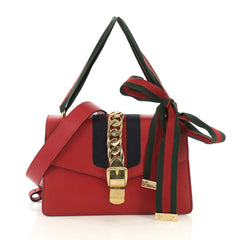 Gucci Sylvie Shoulder Bag Leather Small Red 40589/2
