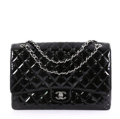 Chanel Model: Classic Single Flap Bag Quilted Patent Maxi Black 40589/6