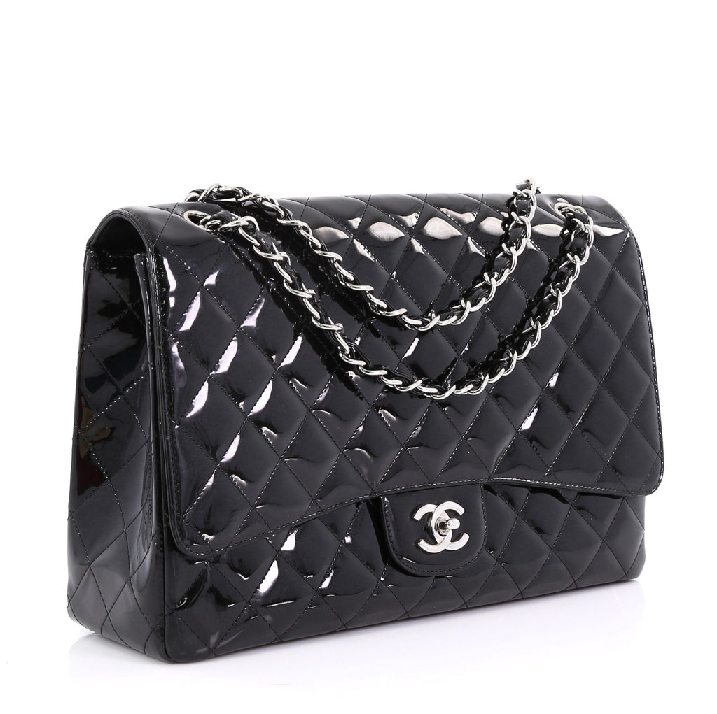 8b9caafcc288 Chanel Classic Single Flap Bag Quilted Patent Maxi Black 405896 – Rebag