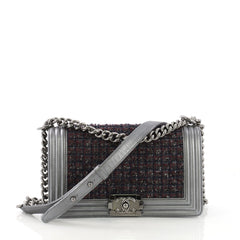 Chanel Model: Boy Flap Bag Tweed and Leather Old Medium Gray 40590/1