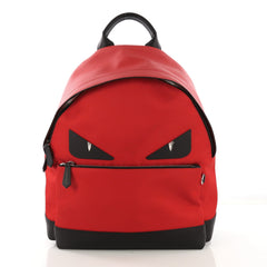Fendi Monster Backpack Nylon with Leather Large Red 406431