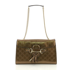 Gucci Emily Chain Flap Bag Guccissima Patent Medium Brown 40646/1