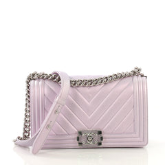 Chanel Boy Flap Bag Chevron Lambskin Old Medium Purple 406627