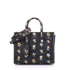 Saint Laurent Sac de Jour Handbag Printed Leather Nano Black 406671