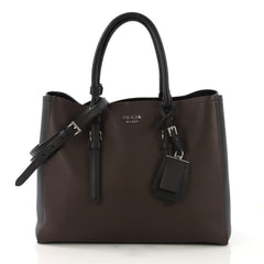 Prada Bicolor Cuir Covered Strap Double Tote City Calfskin 406681