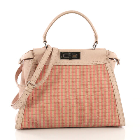 b8333133a54aac Fendi Selleria Peekaboo Bag Woven Leather Regular Pink 406693 – Rebag