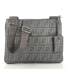 Fendi Front Pocket Messenger Bag Zucca Coated Canvas Medium Gray 40678/25
