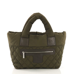 Chanel Coco Cocoon Reversible Tote Quilted Nylon Small Green  40678/58