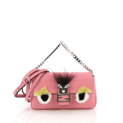 Fendi Monster Baguette Leather and Fur Micro Pink 40678/64