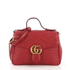 Gucci GG Marmont Top Handle Flap Bag Matelasse Leather 4069013