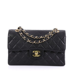 Chanel Model: Vintage Classic Double Flap Bag Quilted Caviar Small Black 40690/9