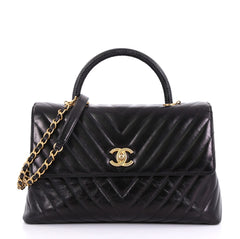 Chanel Coco Top Handle Bag Chevron Calfskin with Lizard 406951