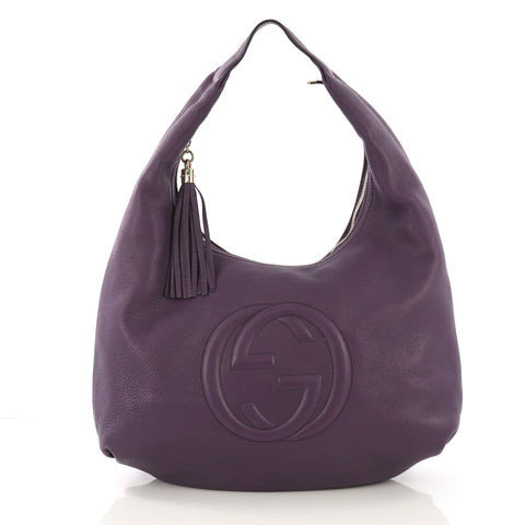 6a263499c92 Gucci Soho Hobo Leather Large Purple 406982 – Rebag