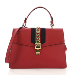 Gucci Sylvie Top Handle Bag Leather Medium Red 4070815
