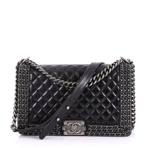 fc63c734cb8aa7 Chanel Chained Boy Flap Bag Quilted Glazed Calfskin New 407181 – Rebag