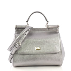 Dolce & Gabbana Miss Sicily Handbag Leather Medium Silver 40734/1