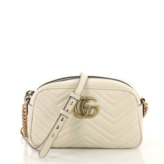 Gucci GG Marmont Shoulder Bag Matelasse Leather Small White  40745/1