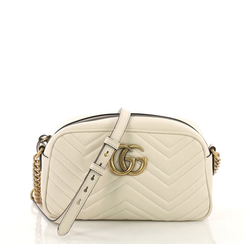 4501f7a2c59 Gucci GG Marmont Shoulder Bag Matelasse Leather Small White 407451 – Rebag