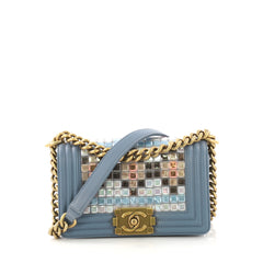 Chanel Mosaic Boy Flap Bag Embellished Lambskin Small Blue 407631