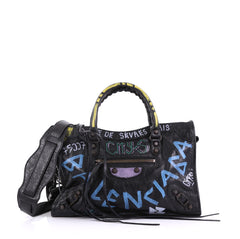 Balenciaga City Graffiti Classic Studs Handbag Leather Small Black 407671