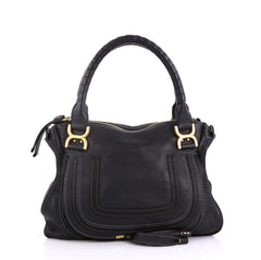 Chloe Marcie Satchel Leather Medium Black 407871