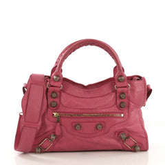 Balenciaga City Giant Studs Bag Leather Medium Pink 407911