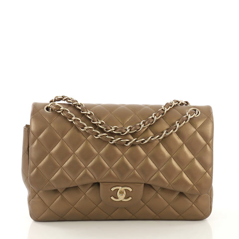 a800b06084ae Chanel Classic Double Flap Bag Quilted Lambskin Jumbo Gold 407912 – Rebag
