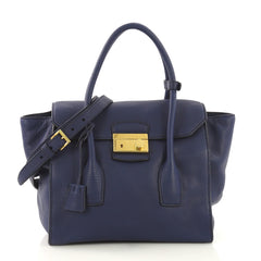 Prada Twin Pocket Lock Flap Tote Vitello Daino Medium Blue 407918