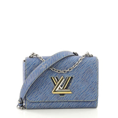 Louis Vuitton Twist Handbag Epi Leather MM Blue 407922