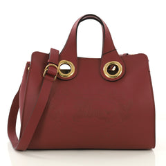 Burberry Crest Grommet Tote Embossed Leather Large Red 407971