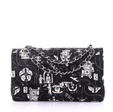 Chanel Model: Airlines Classic Double Flap Bag Quilted Printed Satin Medium Black 40799/11