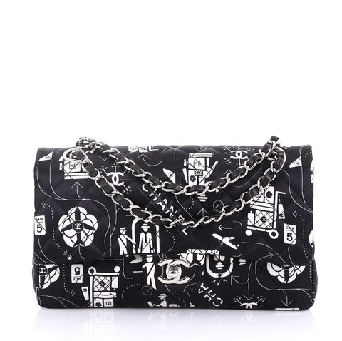 ae7c748d0337 Chanel Airlines Classic Double Flap Bag Quilted Printed 4079911 – Rebag