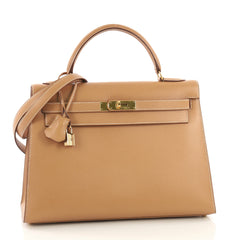 Kelly Handbag Natural Courchevel with Gold Hardware 32