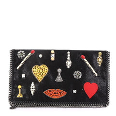 Stella McCartney Model: Falabella Flap Clutch Embellished Shaggy Deer Black 40799/56