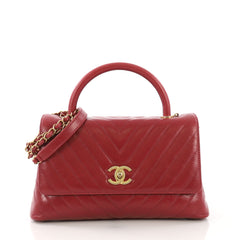 Chanel Coco Top Handle Bag Chevron Calfskin Small Red 4079962