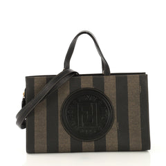 Fendi Model: Pequin Convertible Logo Tote Coated Canvas and Leather Medium Neutral 40799/91