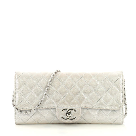 55c6a47b41b2 Chanel Wallet on Chain Quilted Metallic Suede East West 408031 – Rebag