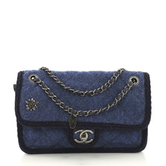 Chanel Model: Paris-Salzburg Flap Bag Quilted Wool Small Blue 40808/34
