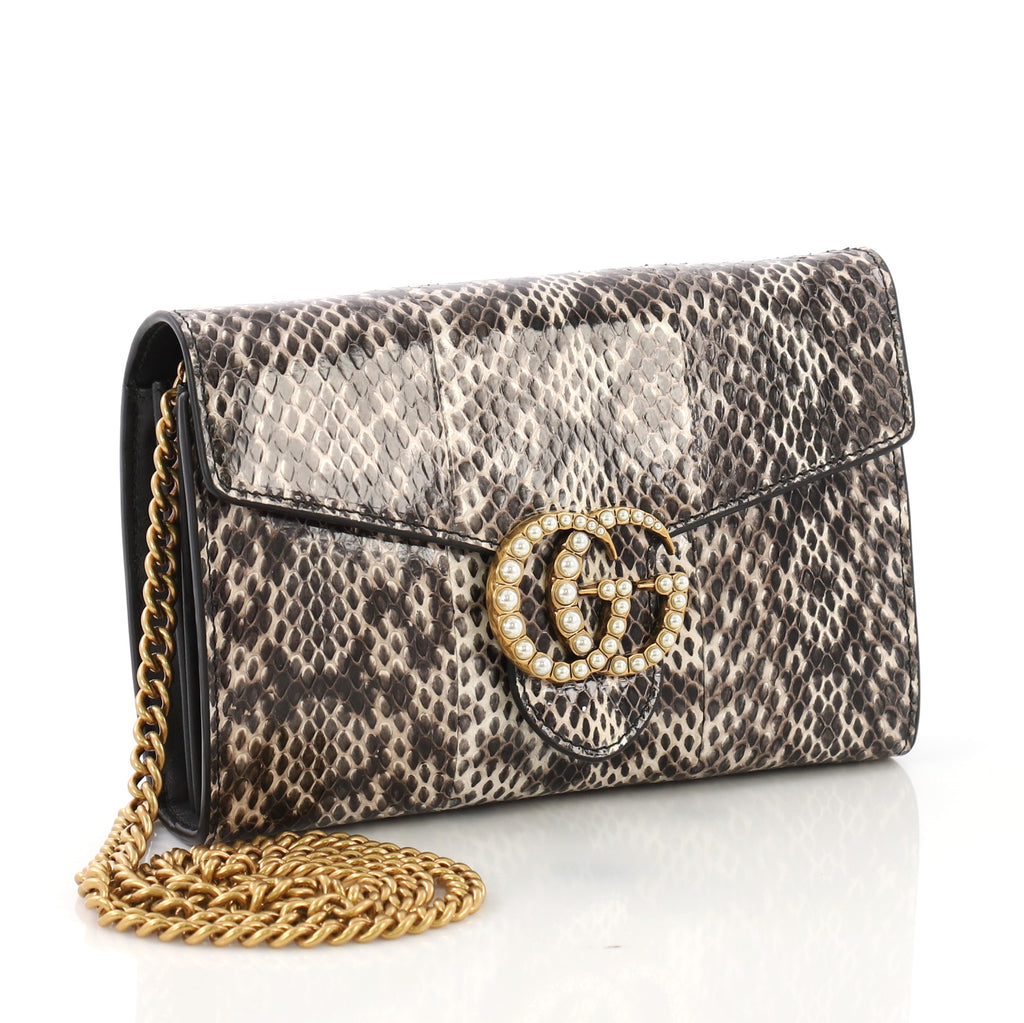 11b4abda1012 Gucci Pearly GG Marmont Chain Wallet Snakeskin Mini Brown 408086 – Rebag