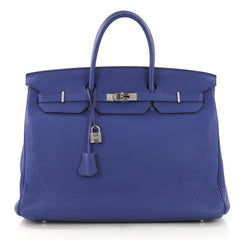 Hermes Birkin Handbag Blue Togo with Palladium Hardware 40 Blue 408141