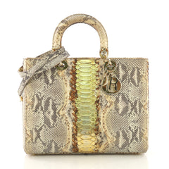 Christian Dior Lady Dior Handbag Python Large Gold 4081703