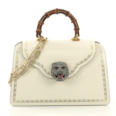 Gucci Thiara Top Handle Bag Frame Print Leather Medium White 408271
