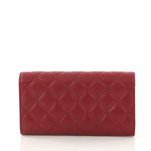 d6f00aa5bfaa Chanel CC Gusset Classic Flap Wallet Quilted Caviar Long Red 408641 ...
