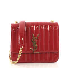 Saint Laurent Vicky Crossbody Bag Vertical Quilted Patent Red 408681