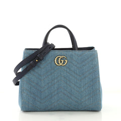 Gucci Pearly GG Marmont Tote Matelasse Denim Small Blue 4087021