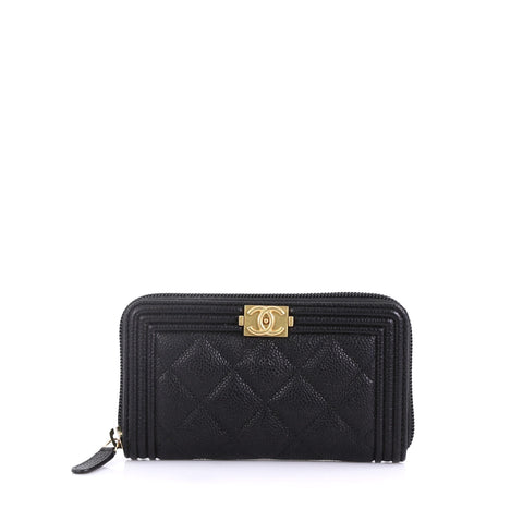 85cca34199a7 Chanel Boy Zip Around Wallet Quilted Caviar Small Black 408732 – Rebag