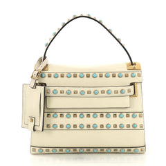Valentino My Rockstud Rolling Satchel Leather with Cabochons 408802
