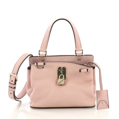 Valentino Joy Lock Top Handle Bag Leather Small Pink 408821