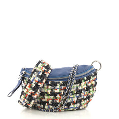 Chanel Convertible Waist Bag Tweed with Quilted Leather Blue 408847